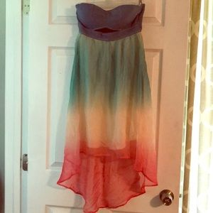 Dresses & Skirts - Multi-colored, high low strapless dress